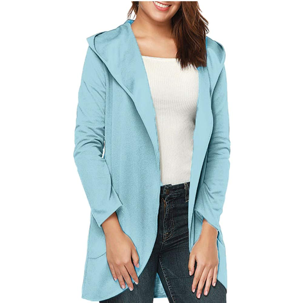 Pervobs Womens Soft Open Front Cardigans Coat Long Sleeve Hooded Outwear Jacket