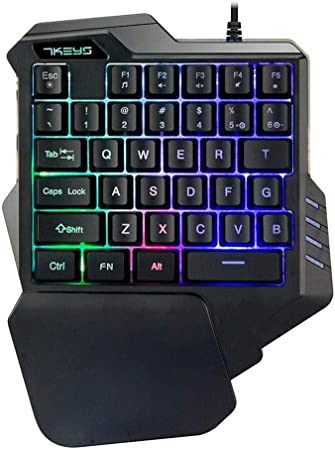 Lexon Tech G30 Teclado para Juegos con una Sola Mano, con Cable 35 Teclas Rainbow, retroiluminación por LED, Mini Teclado para Juegos, Teclado de una ...