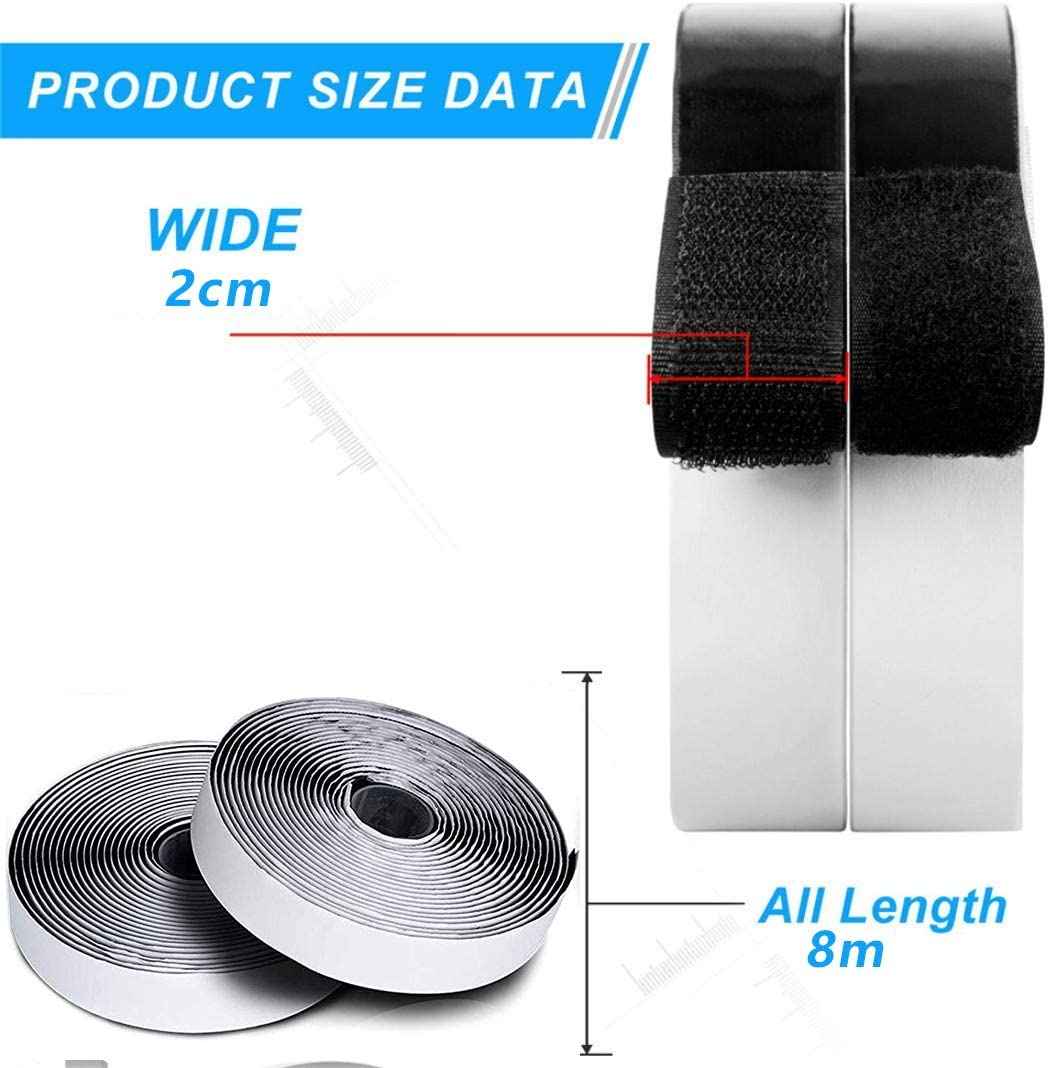 Soneer Adhesive Hook and Loop Tape,8M Sticky Back Fastening Tape Black Extra Strong Self-Adhesive Double Sided Tape for Office 20mm Wide. Kitchen and workshops