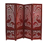 Benzara BM34823 Hand Carved Elephant Design Foldable 4-Panel Wooden Partition Screen/Room Divider, Brown
