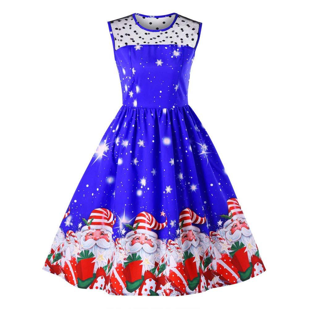 Christmas Women Sleeveless Printed Vintage Xmas Tree Santa Casual Party Prom Swing Dress ODGear Clearance
