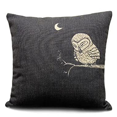 Sunny Outlets Decorative 18 X 18 Inch Linen Cloth Pillow Cover Cushion Case, Owl in the Dark