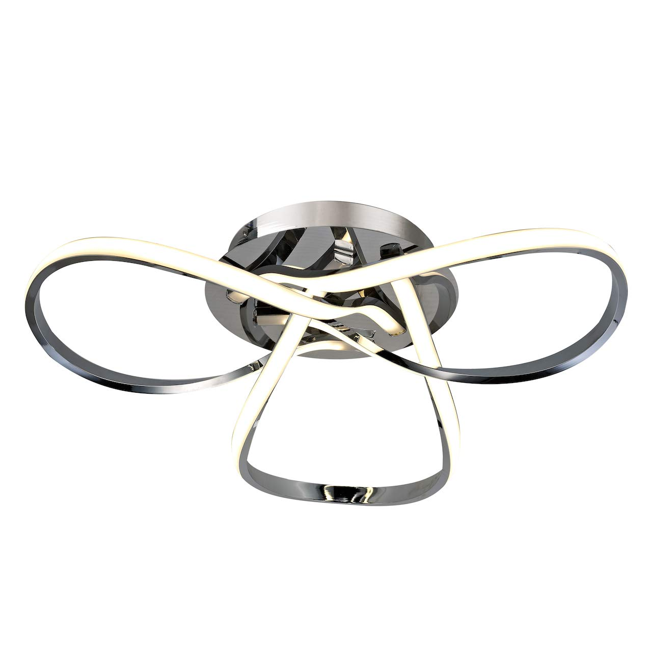 AUROLITE HALO - Contemporary LED Chrome Semi Flush Ceiling Light, 36W 2500LM, Dimmable, 3000K Warm White, Modern Swirl Design, Ideal For Lounge, Living Room and Bedroom, 1 YEAR WARRANTY [Energy Class A+]