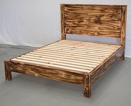 Amazon.com: Torched Farmhouse Platform Bed w Headboard ...