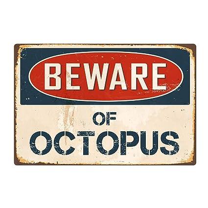Amazon.com: m·kvfa Vintage Iron Metal Sign Beware of Octopus ...