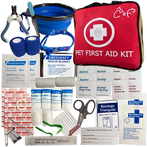 Walk Park (Pet First Aid Kit-Emergency Supplies for Travel, Walks, Camping, Hiking Or Just Fun at The Park. Includes Pet Nail Trimmer/Tick Remover/Pet Bowl/Pet Collar/Vet Wrap Fur Friendly Bandages)