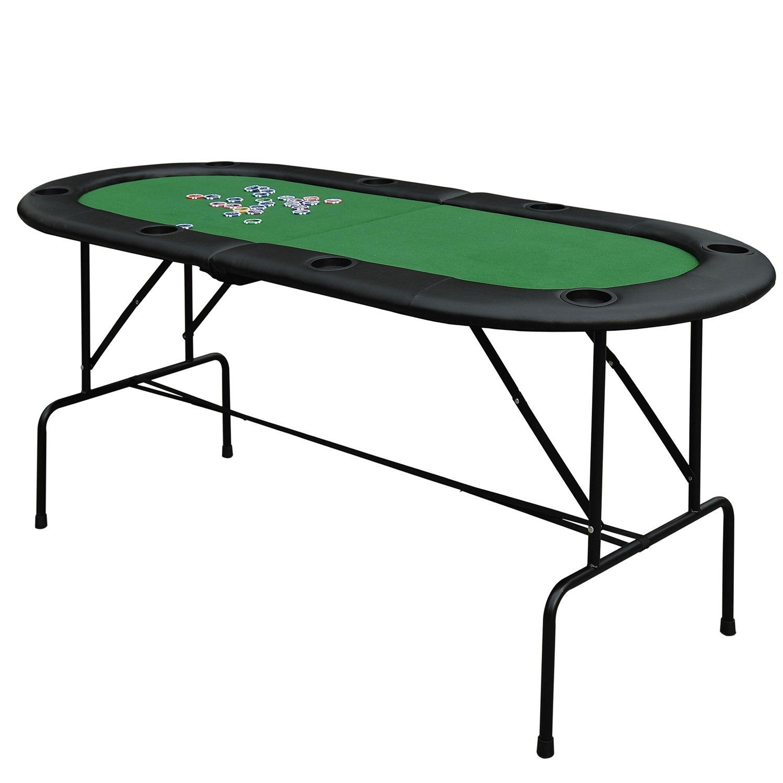 Homcom Poker Tisch Top Faltbar, 1,85m Top für 8Spieler Casino W/Chip Tabletts Getränkehaltern (faltbar) sold by mhstar UKB8-00020331