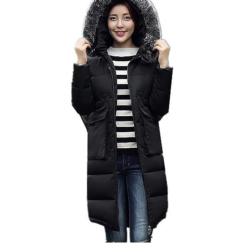 BOMOVO Abrigo Chaqueta Parka de mujer con capucha de pelo para invierno Negro