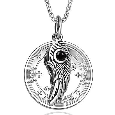 Archangel Michael Sigil Amulet Magic Powers Angel Wing Simulated Black Onyx  Pendant 22 Inch Necklace