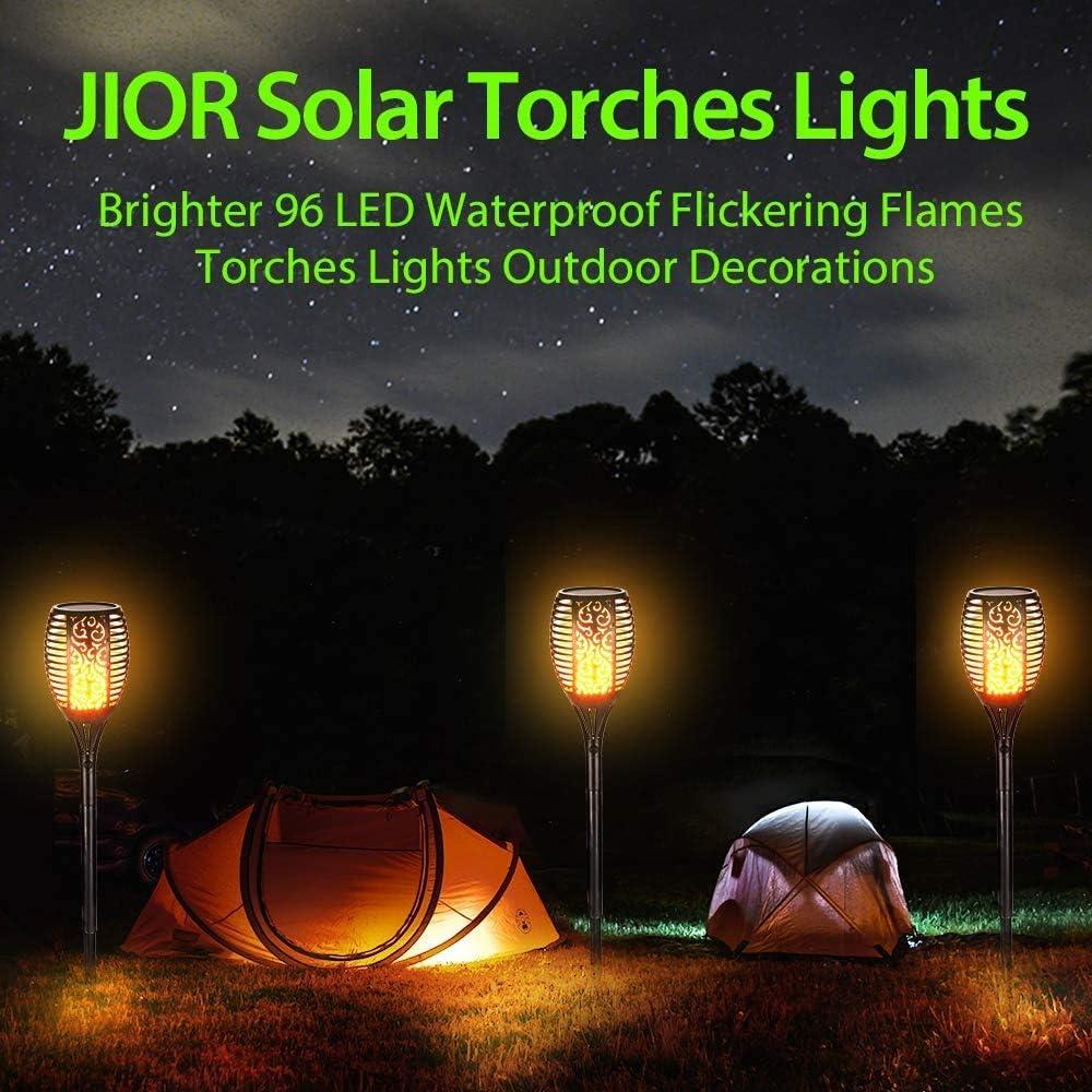 Terrasse Solar Flammenlicht Rasen Jior 96 Led Solarleuchte Garten Fackeln mit Realistischen Flammen Ip65 Wasserdicht f/ür Garten Hinterh/öfe Wege und Innenh/öfe