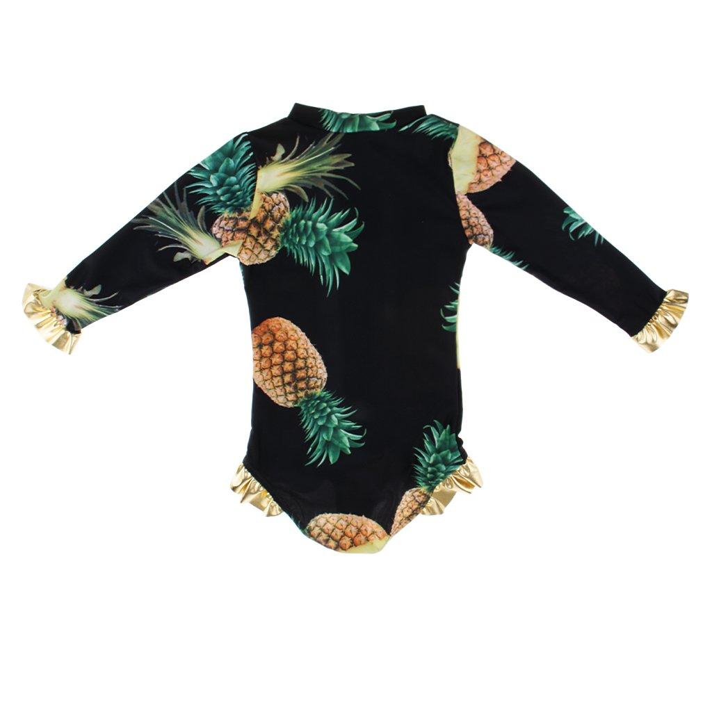 Homyl Cute Kids Girls Pineapple Printed One Piece Swimsuit Long Sleeves Bathing Suit