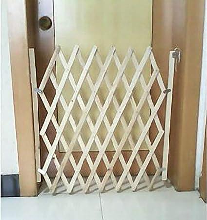 Puerta Para Perros, Barrera De Seguridad Para Mascotas Plegable, Puerta Retráctil Para Perros Puerta Corredera De Madera Mampara De Guardia Móvil Para Perros Pequeños,Brown,S:110 * 48CM: Amazon.es: Hogar