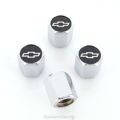 Chevy Silver Logo Tire Stem Valve Caps: Automotive