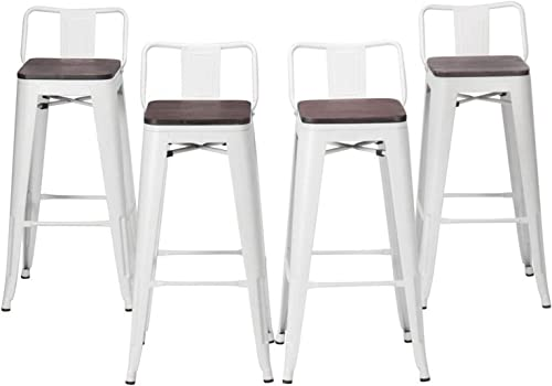 Modern Industrial Metal Bar Stool Counter Height Stools Set of 4 Stackable Dining Chair 24″