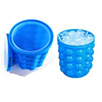 BULUSHI Large 2 in 1 Silicone Ice Bucket & Ice Mold with lid,Silicon Ice Cube Maker Genie, Portable Silicon Ice Cube Maker Blue 13.2X13.2X14CM
