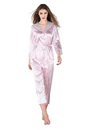 Conjuntos de pijamas de verano para mujer Tops de manga larga de encaje Conjuntos de pantalones