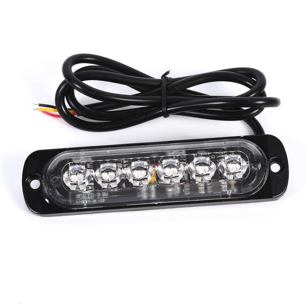 12V Flashing Warning Strobe Bar Light Hazard Lamp for Car and Truck 6 LED Emergency Warning Light Yellow /& White 1 pair