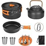 Aitsite Camping Kit de Utensilios de Cocina 11PCS Camping Cookware Outdoor Libre de Aluminio Ligero Camping Pot Pan Set con Bolsa Malla, Tetera, Cuchillo, Tenedor, Cuchara, 2 Tazas y Gancho (Orange)