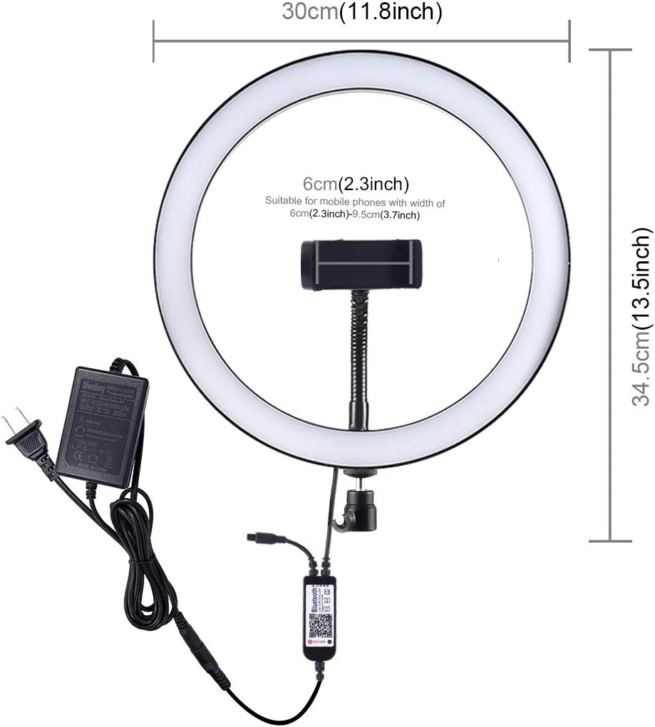 QUAN Ring Light Kit Photographic Equipment Ring Flash Accessories 12 inch RGB Dimmable LED Ring Vlogging Selfie Photography Video Lights with Cold Shoe Tripod Ball Head /& Phone Clamp US Plug