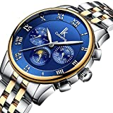 GLEIM Mens Watches, Luxury Business Casual Stainless Steel Bracelet Automatic Mechanical Men Wrist Watch