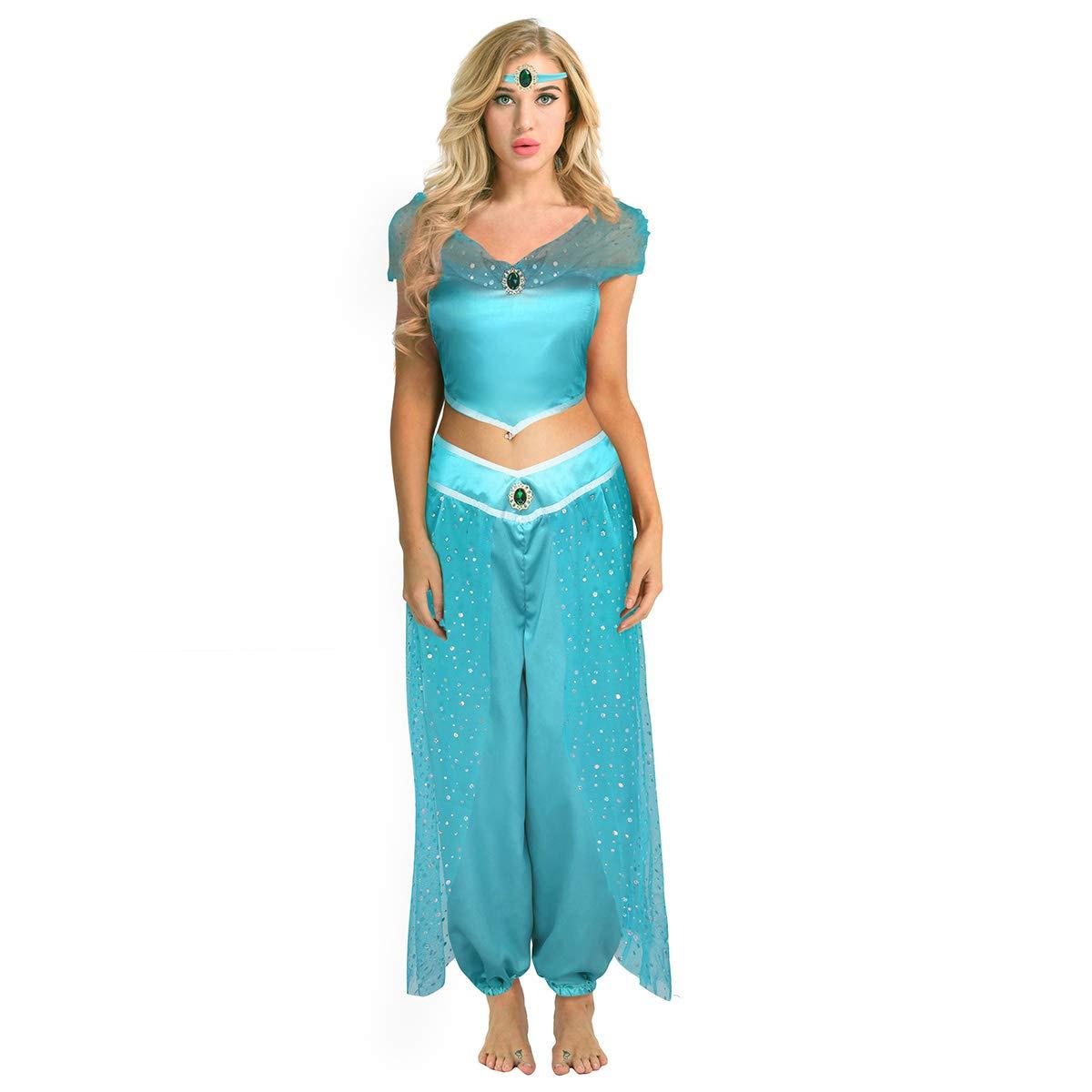 CHICTRY déguisement Femme Princesse Fille Paillettes Costume Outfit Hors  Épaule Top+Pantalon+Bandeau Ensemble pour Adulte Halloween Cosplay soirée  S-XXL  ... 4bfd2753f75