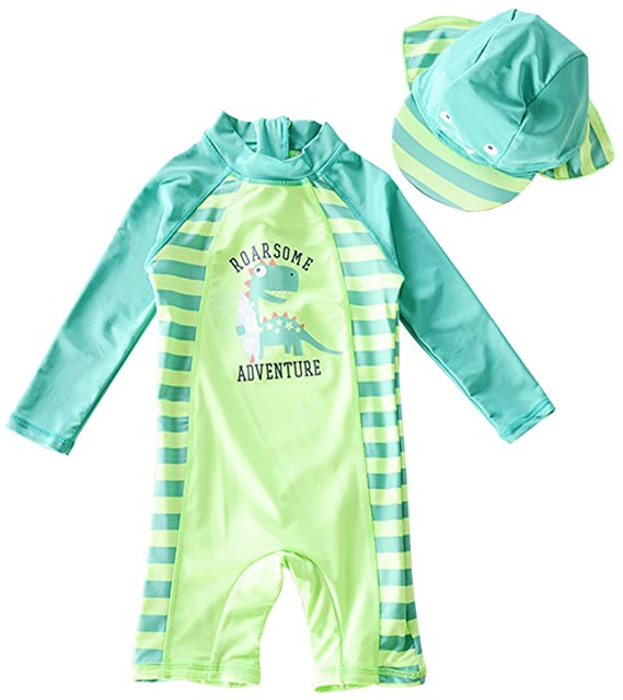 410026a07e Baby Boy Cartoon Dinosaur One-piece Rash Guard Long Sleeve Swimsuit Swimwear  size 9-