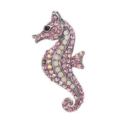 Lasaa Broche con diseño de Caballito de mar de Cristal, Broche de ...