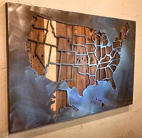 Large United States Map with State Borders - All 50 States - 29''x45'' - Metal Art - Reclaimed Wood and Aged Steel - by Legendary Fine Art by LegendaryFineArt