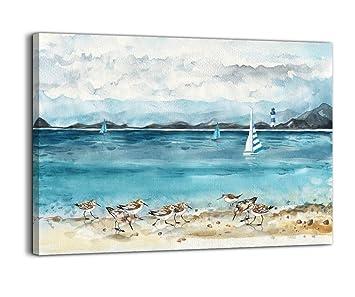 Framed Beach Wall Art.Bathroom Decor Beach Wall Art Ocean Lighthouse Seabird Paintings Artwork For Walls Beach Theme Decor Picture Prints Modern Wall Decor Framed Wall