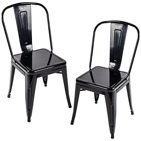 Incroyable Merax Larger Seat Series Metal Dining Chairs Set Of 2 For Bistro/Cafe Tolix  Style