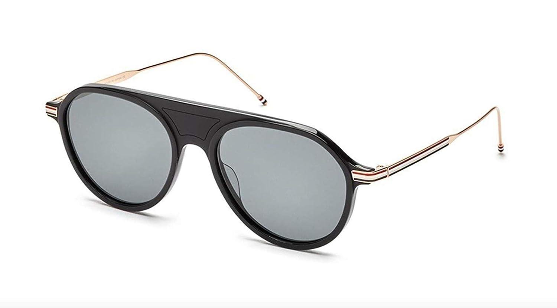 159e048b3e05f Sunglasses THOM BROWNE TB 809 A-BLK-GLD Matte Black-White Gold w  Dark  Grey-AR at Amazon Men s Clothing store