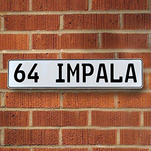 Chevy Impala Sign - Vintage parts USA 786853 64 IMPALA automotive chevy White Stamped Aluminum Street Sign Mancave Wall Art