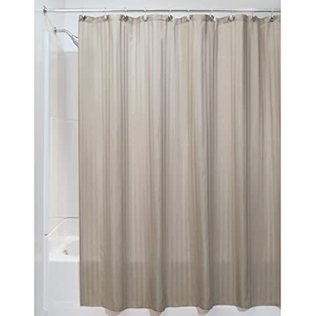 Amazon.com: InterDesign Satin Stripe Soft Fabric Shower Curtain ...