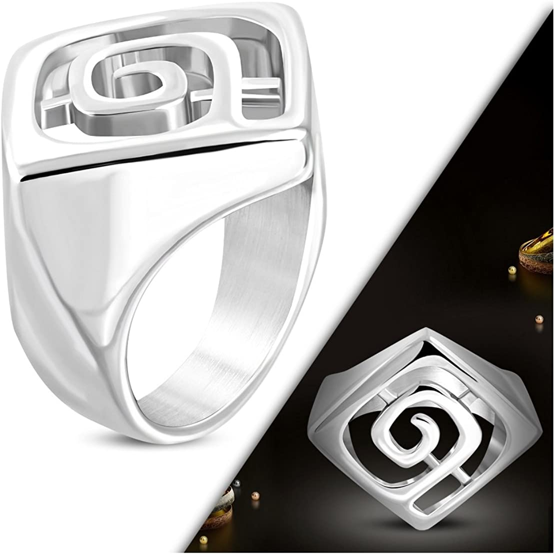 Stainless Steel Cut-out Greek Key Cocktail Ring