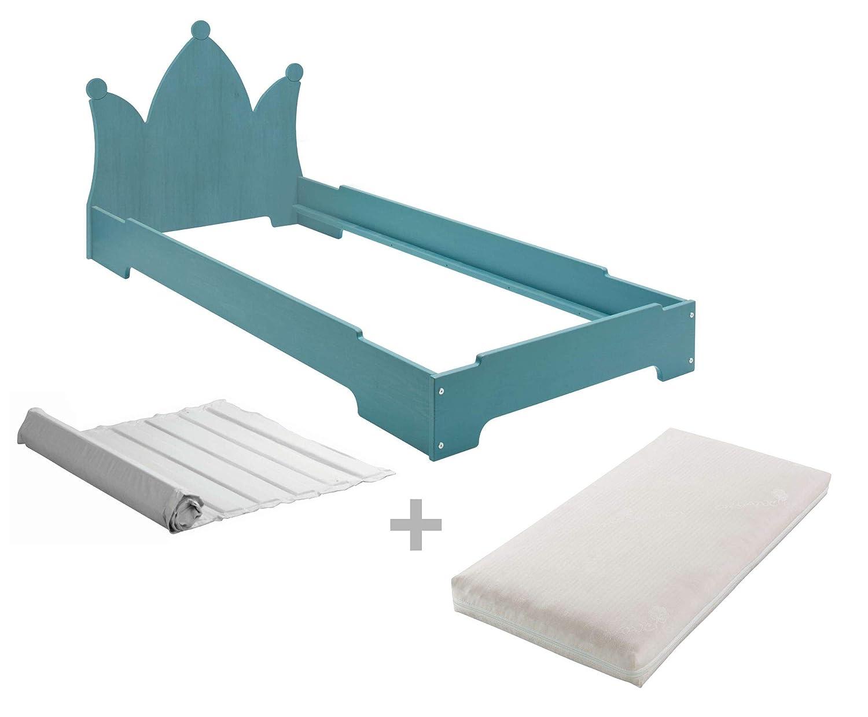 BioKinder Kai Stapelbett Stapelliege Gästebett mit Krone Lattenrost und Biotrio Matratze aus Massivholz Kiefer 90 x 200 cm blau lasiert