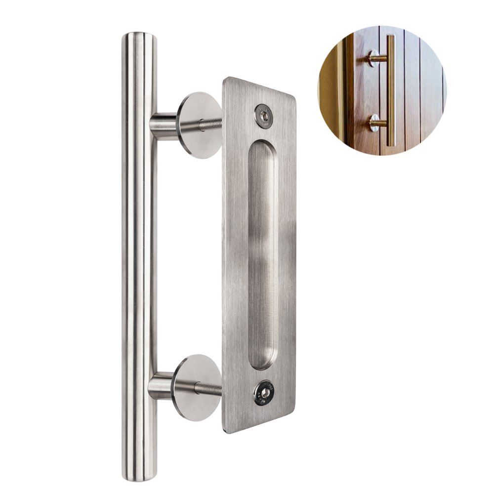 Bonnlo 12'' Sliding Barn Door Hardware Handle, Pull and Flush Door Handle Set (Silver)