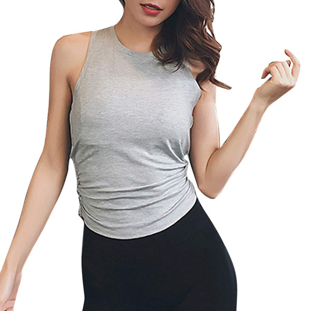 Keliay Cute Womens Tops Summer, Women's Sports Thin Fitness Running Pure-Color Quick-Drying Yoga Suspender Tops Gray