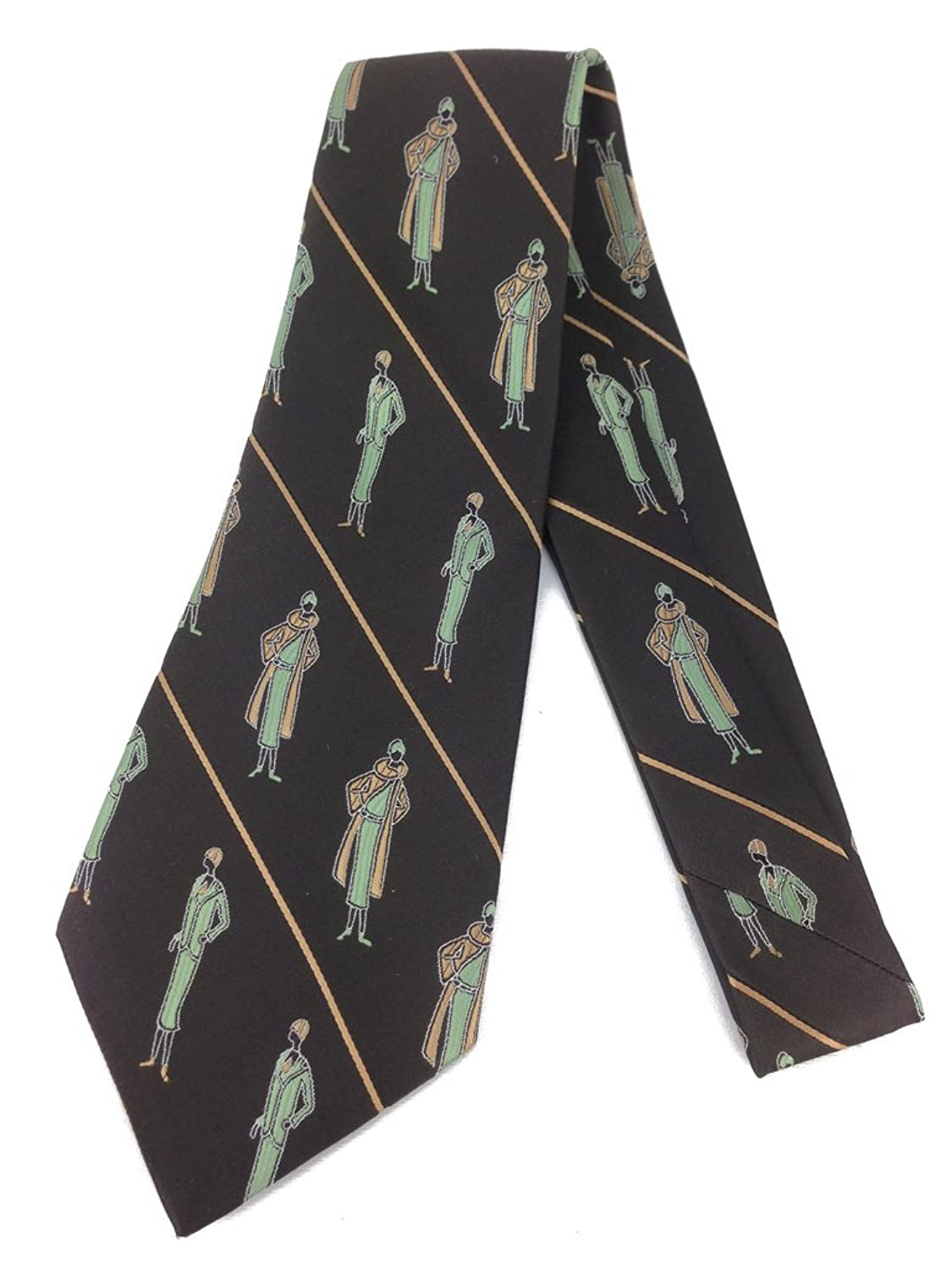 1920s Bow Ties | Gatsby Tie,  Art Deco Tie Lady Art Deco Vintage Tie - Jacquard Weave Wide Kipper Necktie Stripe $24.95 AT vintagedancer.com