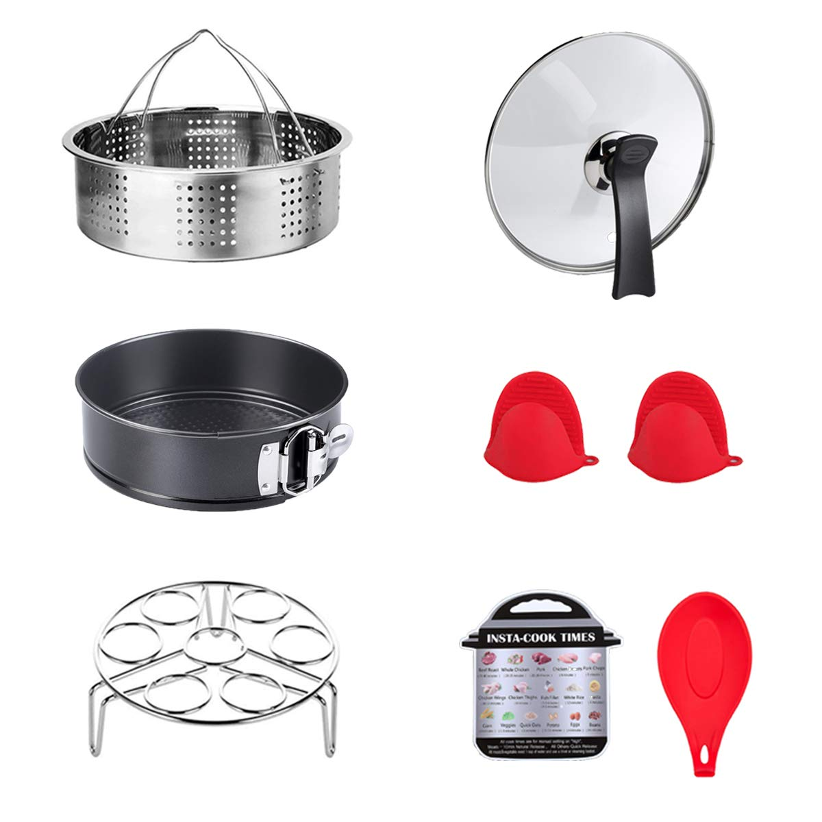 ULEE Accessories Compatible with Instant Pot 6 Qt - Including Steamer Basket, Glass Lid, Springform Pan, Egg Rack, Oven Mitts, Magnetic Cheat Sheet, Spoon Rest