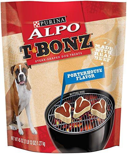 Purina ALPO T-Bonz Brand Dog Treats, Porterhouse Flavor, Steak-Shaped, 45-Ounce Pouch, Pack of 1