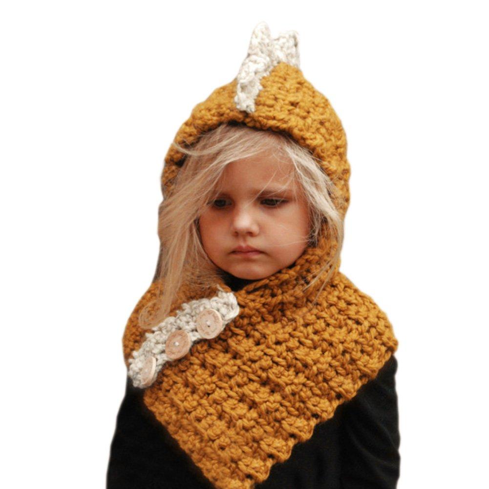 CHIC-CHIC Kids Girls Boys Winter Warm Knitted Earflap Hat Caps Dinosaur Hood Scarf Cloak