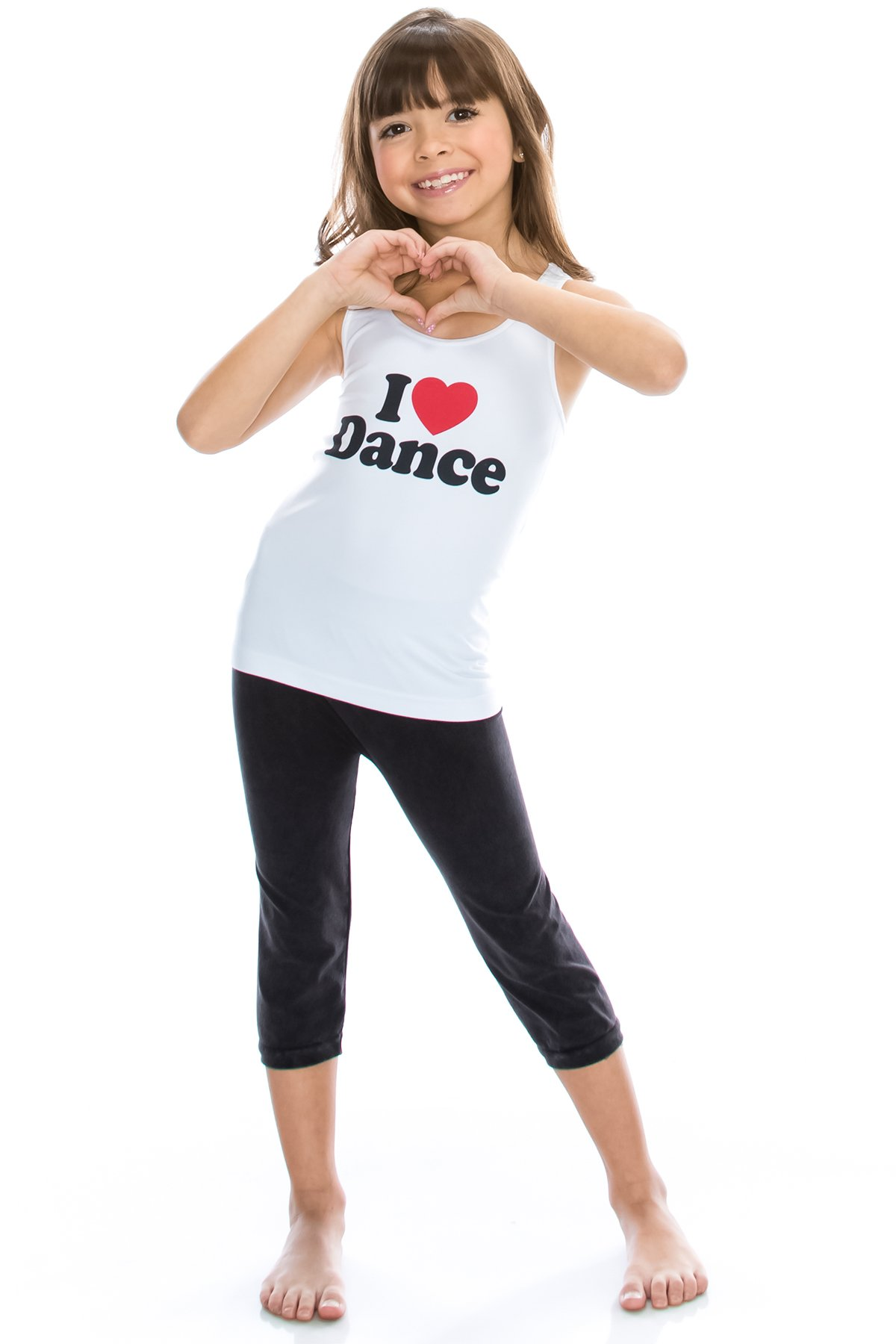 Kurve Kids 2-Piece Dance Outfit - One Size Age 4 to 9 - Made in USA- (One Size (4-9), I Love Dance Dark Set)