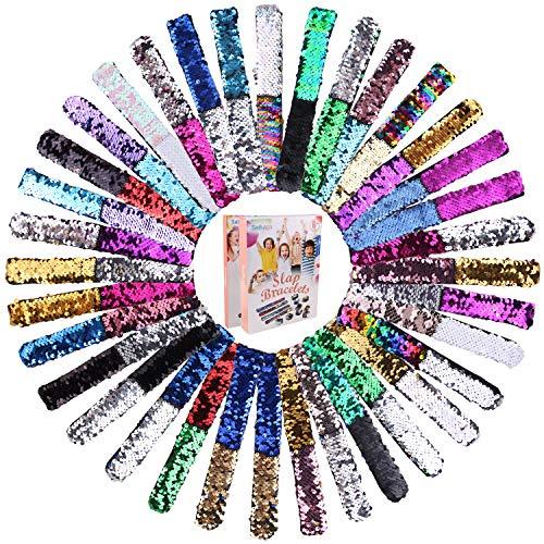 Satkago 36 Pcs Mermaid Slap Bracelets Birthday Party Favors for Kids, Two-Color Decorative Reversible Sequin Bracelets, Great Dance Gymnastics Party Favors, Class Prizes for Kids, Girls, Boys, Women