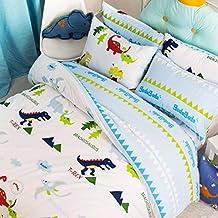 LELVA Dinosaur Bedding Sets,anime Bed Sheets Set,cute Kids Queen Size Cartoon Bedding Set,4pcs (2, Full)