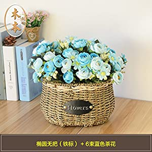 SituMi Artificial Fake Flowers Wedding Bouquet SetHome Decoration,Blue CamelliaThe Rattan Vase 12