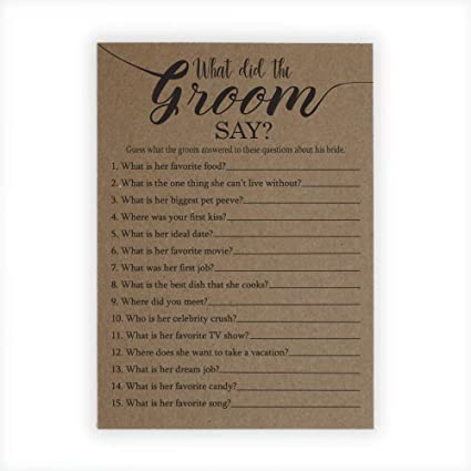 what did the groom say bridal shower game 25 count bridal shower games