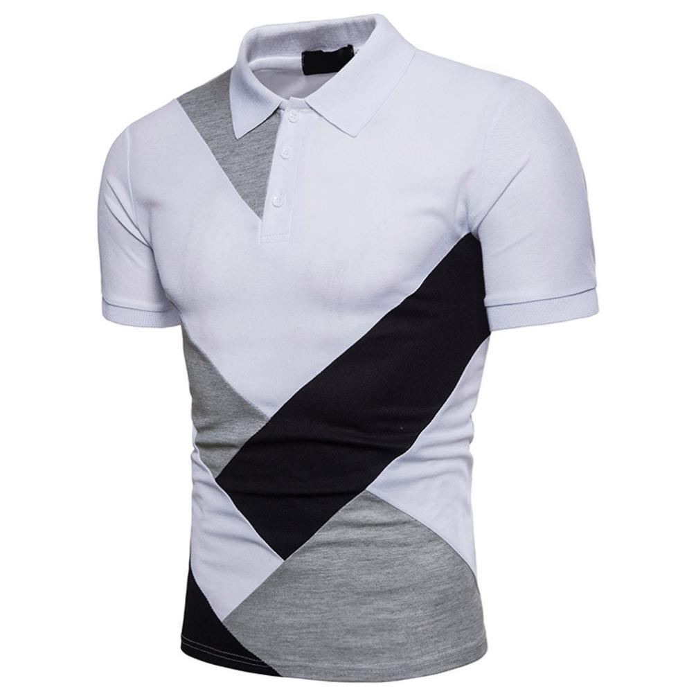 Btruely T-shirt Herren Sommer Polo Shirt Persönlichkeit Kurzarmshirt Männer  Kurzarmhemd Slim Fit Sporttop Patchwork Oberteile Basic Tee ... 3f615d8b78
