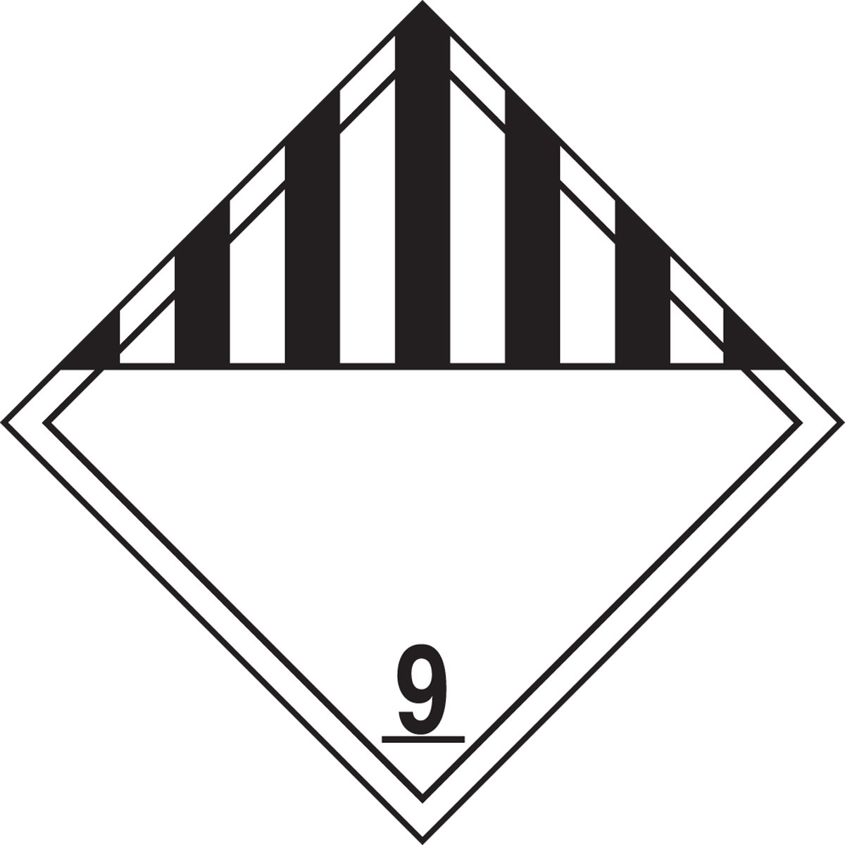 Accuform MPL901VS50 Adhesive Vinyl Hazard Class 9 Miscellaneous Dangerous Goods DOT Placard Pack of 50 Legend9 Black on White 10-3//4 Width x 10-3//4 Length