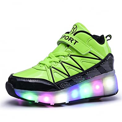 Kids Boys Girls High-Top Shoes LED Light Up Sneakers Single Wheel Roller  Skate Shoes f16905099