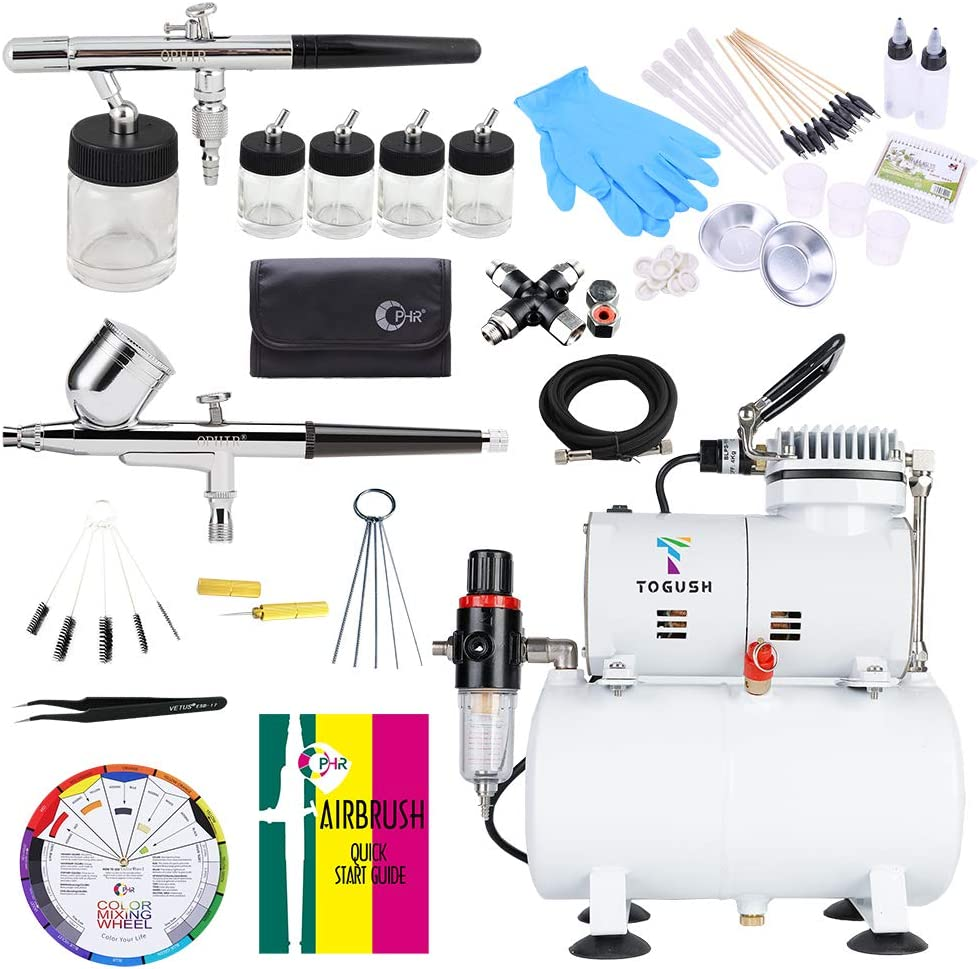 TOGUSH Air Compressor Kit with 2 Airbrushes Cleaning Airbrush Kit Double Action Airbrush Painting Tools